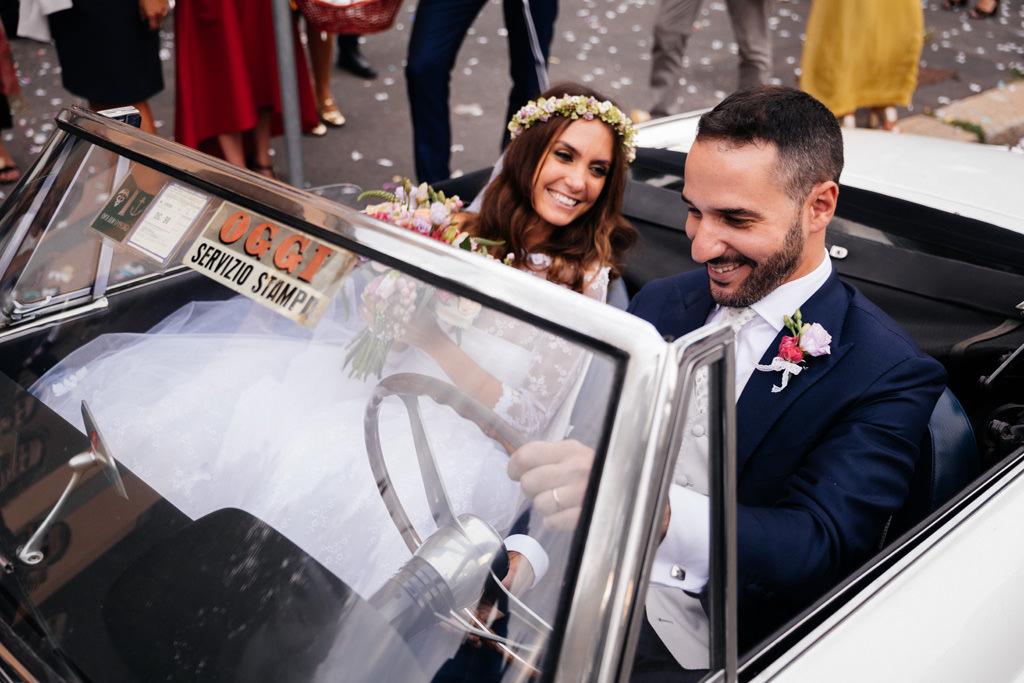 matrimonio cristina e andrea auto sposi
