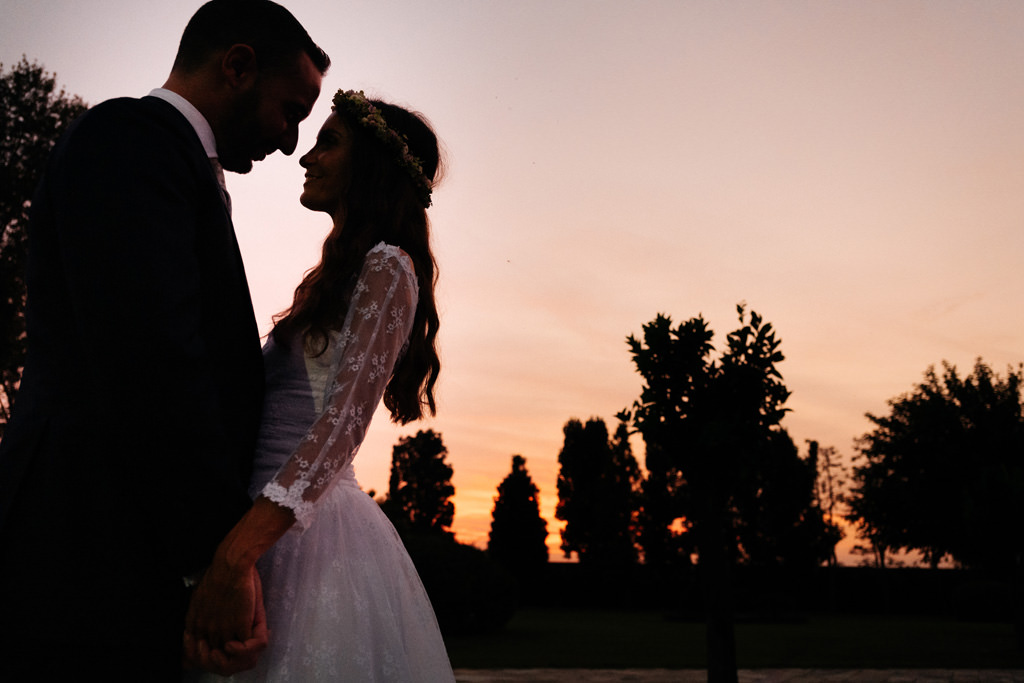 foto coppia andrea e cristina tramonto villa valenca