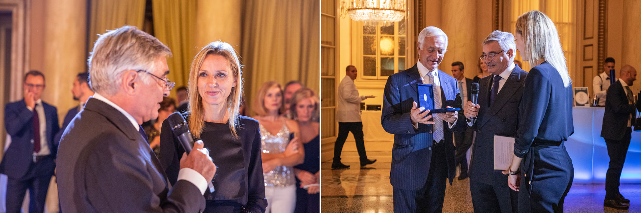 L'avvocato Enrico Raffaelli invita Valentina Vezzali per il discorso di conclusione della festa del quarantesimo anniversario di Rucellai e Raffaelli